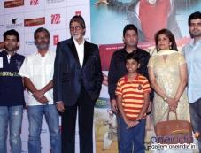 Amitabh Bachchan, Parth Bhalerao and Bhushan Kumar at Bhoothnath Returns promotion in New Delhi Photos