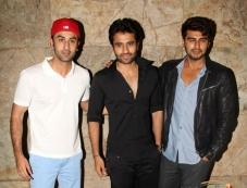 Ranbir Kapoor, Jackky Bhagnani and Arjun Kapoor at Youngistaan film screening Photos