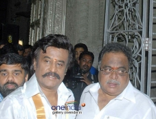 Rajinikanth and Ambareesh at Lingaa Movie Pooja Stills Photos