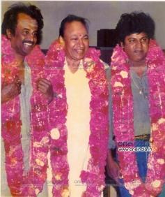 Dr. Rajkumar with Rajinikanth(Left) and Shivrajkumar(Right)