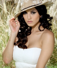 Actress Sunny Leone Wearing Hat