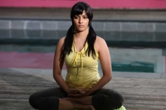 Varalaxmi Sarathkumar doing Yoga