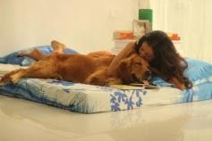 Raima Sen With her Pet Dog Bruno
