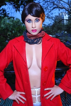 Aiysha Saagar in Red Dress