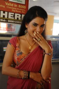 Kavya Singh in Dark Red Saree