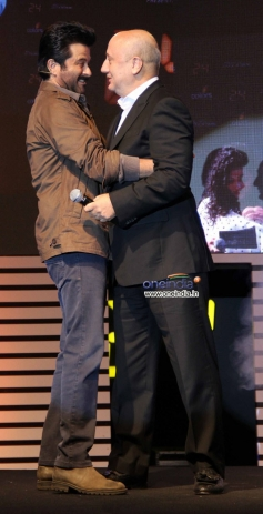 Anil Kapoor friendly hugs with Anupam Kher at launch of Anil Kapoor's 24 series