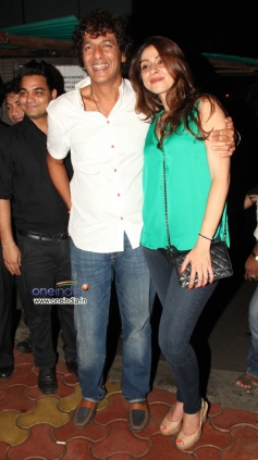 Chunky Pandey poses with his wife Bhavna Pandey at his birthday party