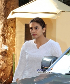 Huma Qureshi during the prayer meeting of Madhuri Dixit's father