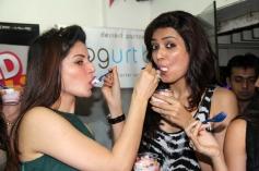 Kainaat Arora and Karishma Tanna during Grand Masti Flavour Launch at Yoghurtbay