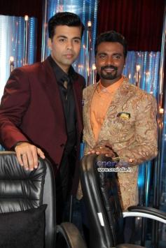 Karan Johar with Remo D'Souza during 24 India tv show promotion on Jhalak Dikhhla Jaa 6 sets