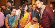 Karunanidhi at Actor Bharath and Jesslie wedding reception
