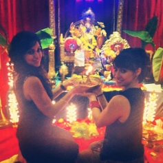 Maryam Zakaria along with Lauren Gottlieb during Ganesh Chaturthi celebration