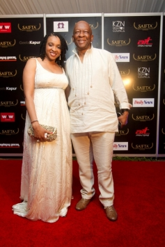 Mr Welcome Msomi, Jury member SAIFTA with Wife at the red carpet of SAIFTA