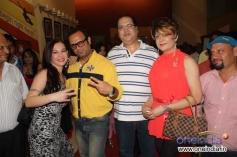 Nataliya Kozhenova, DJ Sheizwood and Navin Batra With Bobby Darling at Super Model film premiere
