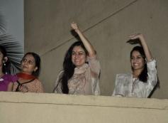 Padmini Kolhapure and Shraddha Kapoor during Ganesh Chaturthi 2013 celebration