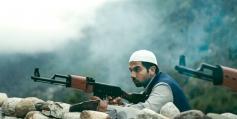 Raj Kumar Yadav action still from film Shahid