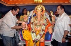 Randhir Kapoor and Rajiv Kapoor celebrating Ganesh Festival at RK Studios