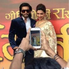 Ranveer Singh and Deepika Padukone at first look launch of Ram Leela