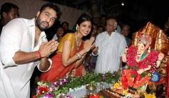 Shilpa Shetty with husband Raj Kundra performing pooja during the Ganesh utsav