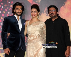 Sanjay Leela Bhansali with Deepika Padukone and Ranveer Singh at trailer launch of Ram Leela