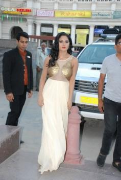 Veena Malik arrive during Supermodel Promotions at PVR Delhi