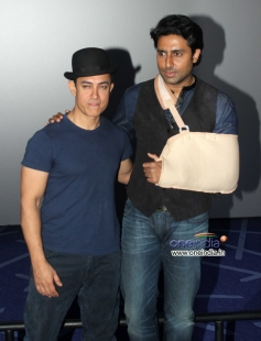 Aamir Khan and Abhishek Bachchan at the trailer launch of film Dhoom 3