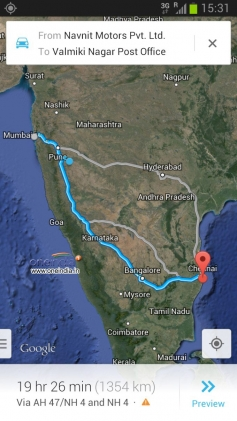 Pune to Chennai map route