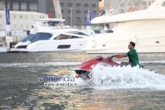 Akshay Kumar came on a jet-ski to address the media on a yacht