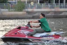 Akshay Kumar enters on a Jet- Ski for media interactions in Dubai