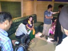 Ameesha Patel addressing media during film Desi Magic press meet