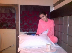 Ameesha Patel relaxing on bed after film Desi Magic shooting