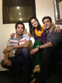 Ameesha Patel with Zayed Khan and Sahil Shroff at on the sets of film Desi Magic.