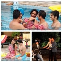 Boys teaching Mallika Sherawat how to swim & ride a motorbike on bachelorette India