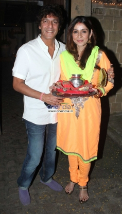 Chunky Pandey with his wife arrive at Anil Kapoor's Karva Chauth party