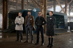 Gary Oldman, Jay Baruchel, Michael Keaton and Jennifer Ehle still from Robocop 2014