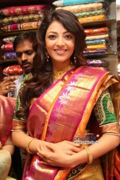 Kajal Aggarwal wore a saree at Chennai shopping mall