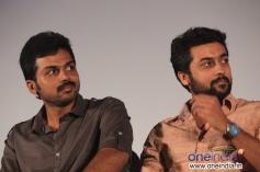 Karthi Sivakumar with his elder brother Suriya at his film All in All Azhagu Raja Audio Launch