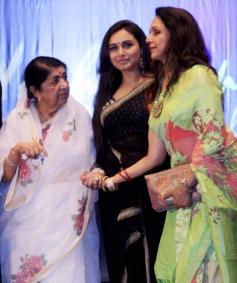 Lata Mangeshkar along with Rani Mukerji, Hema Malini during the Yash Chopra National Memorial awards