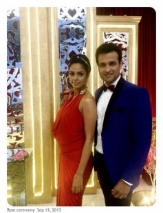 Mallika Sherawat with Rohit Roy on the sets of Bachelorette India on Life OK tv