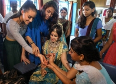 Miss Universe Olivia Culpo during a visit to Sulabh Public School