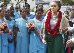 Miss Universe Olivia Culpo two-hour-long visit to the village