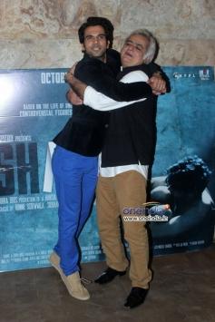 Raj Kumar Yadav hugs Hansal Mehta at Special screening of film Shahid