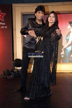 Raju Shrivastav with his wife shikha at Star Plus Nach Baliye 6 press meet