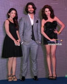 Puneet Singh Ratn with Aradhana Gupta and Anaika Soti at Theatrical trailer launch of film Satya 2