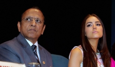 S P Agarwal and Miss Universe Olivia Culpo during the Voluntary Blood Donation Camp