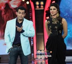 Salman Khan and Priyanka Chopra on the sets of Bigg Boss 7