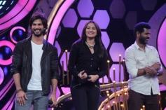 Shahid Kapoor, Sonakshi Sinha and Prabhu deva on Dance India Dance tv show sets