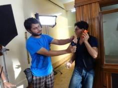 Shahrukh Khan getting ready for Nokia Lumia ad shoot