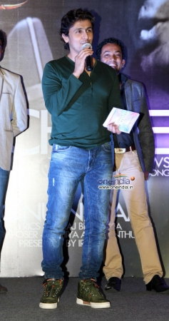 Singer Sonu Nigam addressing media at music launch of Hindi dubbed Japanese film The Mystical Laws