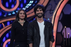 Sonakshi Sinha and Shahid Kapoor on Dance India Dance show sets for R... Rajumar film promotion